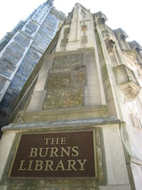 The entrance to the Burns Library is located on the North side of the Bapst building - the side of the building that faces Commonwealth Avenue.