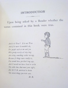 """Belloc's introductory """"disclaimer"""" to his Cautionary Tales (1907, London), illustration by Basil T. Blackwood."""