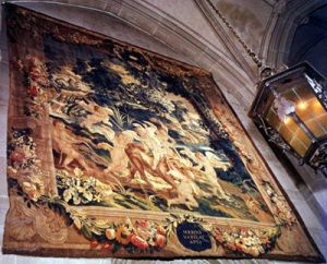 Merito Vapulat Aper, from a Set of Seven Flemish Tapestries Narrating the Story of Venus and Adonis Flemish, c. 1600 wool and silk