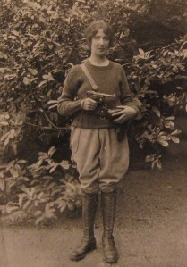 Photo of Máire Gill, as revolutionary with a pistol, ca. 1922, part of the Cuala Press Printed Materials Collection, MS2005-35, John J. Burns Library.