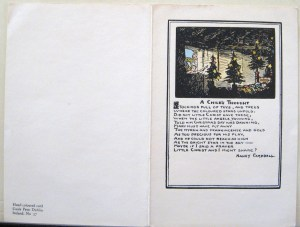Hand-colored Christmas card, Cuala Press, Illustration by Jack B. Yeats and Text by Nancy Campbell, Cuala Press Printed Materials Collection, MS2005-35, John J. Burns Library, Boston College