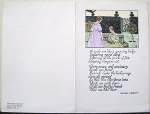 Hand-colored Christmas card, Cuala Press, Illustration by Dorothy Blackham and Text by Eleanor Sinclair, Cuala Press Printed Materials Collection, MS2005-35, John J. Burns Library, Boston College