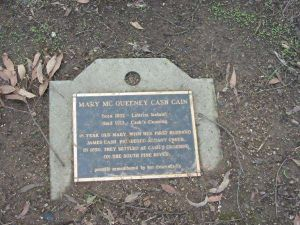 For a larger image, please click on this photo. Thanks to Neville Casey for this photograph of a family grave in Australia.  The grave marker tells the story of his ancestors, Mary (McQueeney) Cash Cain and James Cash Cain