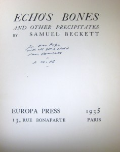 Title page of Echo's Bones, by Samuel Beckett, this book is available for your perusal in the Burns Library Reading Room, Call #  PR6003.E282 E25 1935a.