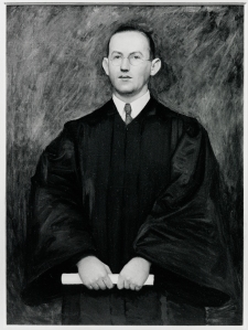 """This portrait of the Honorable John J. Burns hangs in the Ford Tower at the Burns Library.  Burns was a Boston College graduate in 1921, who went on to earn a law degree at Harvard University.  Burns taught law at Harvard, was appointed to the Massachusetts Superior Court, served as legal counsel to the Securities and Exchange Commission, and practiced law in both Boston and New York.  Never forgetting Boston College, Burns was an original member of a group called """"Friends of the Library"""" at B.C."""