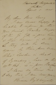 "Letter from Florence Nightingale to Mrs. Lewis, Josephine A. Dolan Collection of Nursing History, John J. Burns Library.  This letter is part of the exhibition ""Notes on Nursing:  Past, Present and Future""."