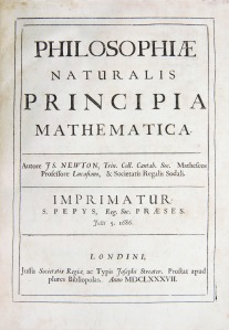 "Sir Isaac Newton's groundbreaking work on classical mechanics, Philosophiae Naturalis Principia Mathematica (""Mathematical Principles of Natural Philosophy""), was first published in London in 1687. In this book, Newton, a Cambridge University mathematics professor, expounded the laws of motion and universal gravitation.  Photograph by Lee Pellegrini."