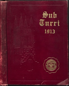 The first Boston College yearbook, dated 1913, is available in the Burns Library Reading Room and online via Internet Archive and Flickr.
