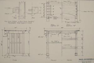 Plans for the arts and crafts style oak work bench in the Burns Library conservation lab.  The bench was hand built in 1999 by Paul O'Connell, a graduate of the North Bennet Street School.