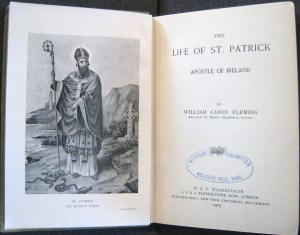 Frontispiece from William Fleming's The Life of St. Patrick, Burns Library Call #BR 720 .P26 F5 1905b Irish.