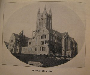 View of Gasson Hall while still under construction, From the Stylus, Vol. XXV, No. 1, p. 2, (October 1911).