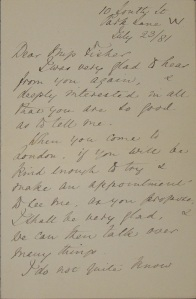 Letter from Florence Nightingale to Alice Fisher, dated July 23, 1881, from the Josephine A. Dolan Collection of Nursing History, MS1988-04