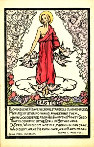 """Easter"", Text by Susan Mitchell and Illustration by Jack B. Yeats, Box 3, Folder 3, Cuala Press Printed Materials Collection, MS2005-35, John J. Burns Library, Boston College."