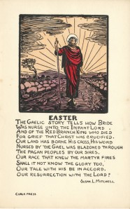 """Christ on the Road"", Text by Susan Mitchell and Illustration by Jack B. Yeats,  Box 3, Folder 5, from the Cuala Press Printed Materials Collection, MS2005-35, John J. Burns Library, Boston College."