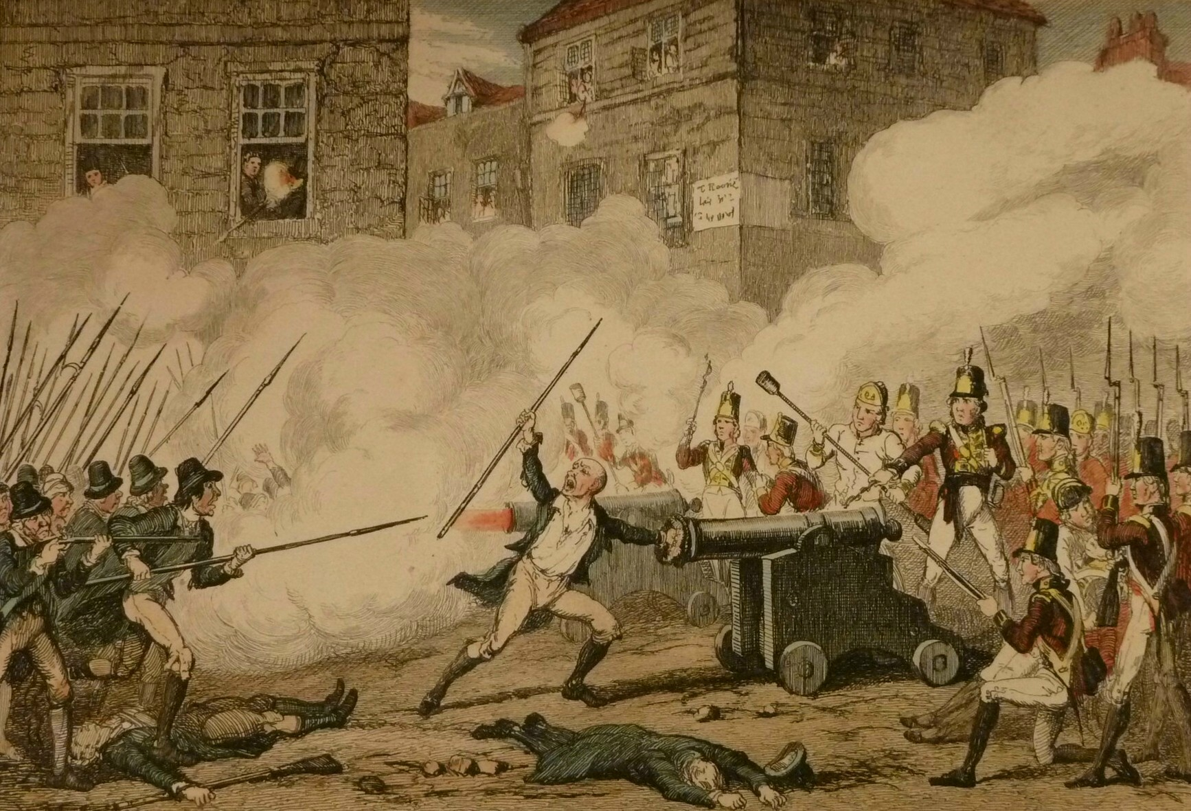 "Detail from an illustration by George Cruikshank with the caption, ""Battle  of Rofs,"