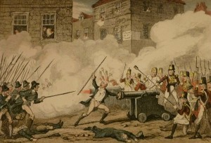 "Detail from an illustration by George Cruikshank with the caption, ""Battle of Rofs, ""Come on Boys, her mouth's stopt."", which appears in a book entitled History of the Irish Rebellion in 1798; with Memoirs of the Union, and Emmett's Insurrection in 1803 by W.H. Maxwell, Esq. London: 1845. (Burns Stacks Unit Four DA949 .M46 1845 IRISH)"