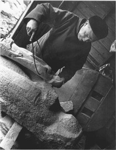 Domhnall Ó Murchadha at work on Our Lady Assumed into Heaven at the quarries of Roe and O'Neill, Ballyedmonduff, County Dublin, 1978.