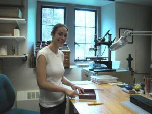 Erin Garrity making a box in the Burns Conservation Lab.