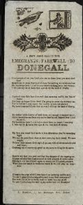 """Emegrants Farewell to Donegall"", Brereton's Collection of Irish Broadsides, published in Dublin : P. Brereton, Printer. (Burns Irish Room PR8880 .B47 1850)"