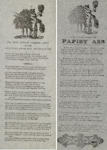"On the left: ""The Irish Tennant Farmers Lament From Eviction From His Native Home"" and on the right: ""A New Song Called the Papist Ass"", Brereton's Collection of Irish Broadsides, published in Dublin : P. Brereton, Printer. (Burns Irish Room PR8880 .B47 1850)"