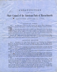 American Party Constitution, August 1855, Box 1, Folder 5, Anti-Catholic Documents Collection, MS2006-059, John J. Burns Library, Boston College.