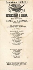 Small political poster for Henry Gardner for Governor of Massachusetts, Box 1, Folder 7, Anti-Catholic Documents Collection, MS2006-059, John J. Burns Library, Boston College.