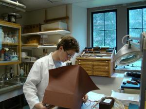 Boston College student Robert Williams works in the Conservation Lab at the Burns Library.