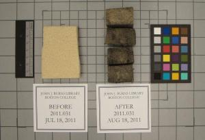 "Before and after condition of the Gonzo sponges used by conservation intern Robert Williams to surface clean issues of ""The Heights"" being prepared for digitization. Now that's a dirty job!."