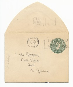 Envelope from a letter written by Christy MacKaye to Lady Gregory, Box 1, Folder 5, MS2002-040, Lady Gregory Collection, John J. Burns Library, Boston College.