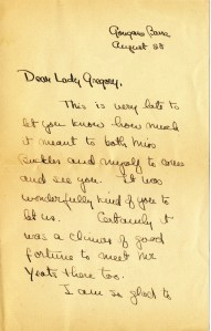 First page of a letter from Christy MacKaye to Lady Gregory, dated August 28, 1931, Box 1, Folder 5, MS2002-040, Lady Gregory Collection, John J. Burns Library, Boston College.