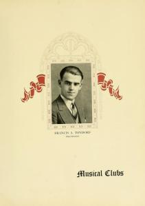 """Musical Clubs"" page, featuring senior soloist and Musical Clubs President Francis A. Tondorf, from the 1927 Sub Turri."