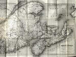 Fold-out map from Osgood's Maritime Provinces, 1875.