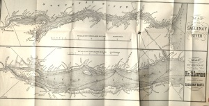 Fold-out maps of the Saugenay River and of the Lower St. Lawrence River, between pages 296 and 297, Osgood's Maritime Provinces, 1875.
