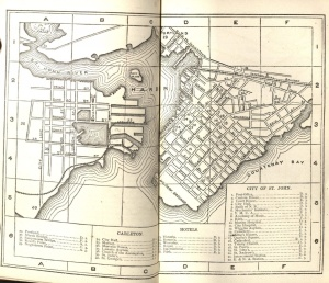 Map of the city of St. John, between pages 14 and 15, Osgood's Maritime Provinces, 1875.