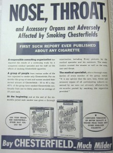 Chesterfield Respiratory Organs ad, from The Heights, 1952, v. 34.