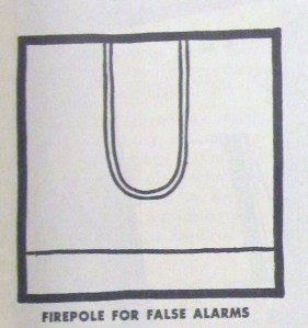 """""""Firepole for False Alarms"""" droodle from The Heights, 1954, v. 36, no. 2, p. 5."""