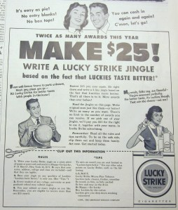 Lucky Strike jingle contest ad, from The Heights, 1953, vol. 35, no. 1.
