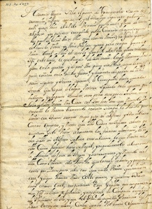 First page of a manuscript report describing the capture of an English privateer carrying contraband. Alonzo Barros, Captain, 1686. Box 19, Folder 6, MS2009-30, Williams Ethnological Collection, John J. Burns Library, Boston College.