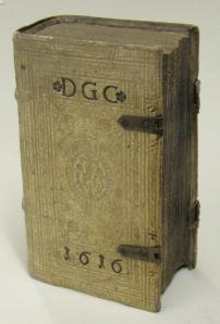 This book, a work devoted to the theology of the Blessed Virgin Mary, has a tooled vellum cover and a Jesuit device.  This book is part of the Burns Library's Jesuitica Collection and can be found under the call number BX 809 .V6 M3 1612.