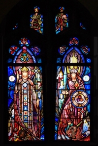 Photo showing two Richard J. King windows in the James Jeffrey Roche Room, Bapst Library, Boston College (as intended to be installed).