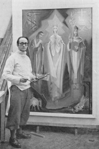 Richard J. King in his studio, from the Capuchin Annual, 1975, p.169. Irish Collection, John J. Burns Library, Boston College.