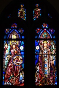 Photo showing two Richard J. King windows in the James Jeffrey Roche Room, Bapst Library, Boston College (as actually installed).
