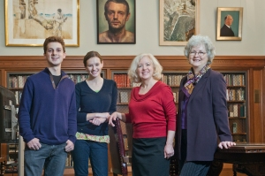 Part of the Burst the Heart Open Exhibition Crew, from left to right:  Robert Williams, Conservation Assistant & Class of 2014, Catherince Macek, Bookbuilder Intern and Class of 2012, Kathleen Williams, Irish Studies Librarian and Barbara Adams Hebard, Conservator, Burns Library.  Photo by Gary Wayne Gilbert.