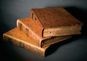 Three volumes of Mémoires des Chinois from the Burns Library's Jesuitica Collection, which contains thousands of volumes covering a wide variety of subjects.  Photo by Kerry Burke.