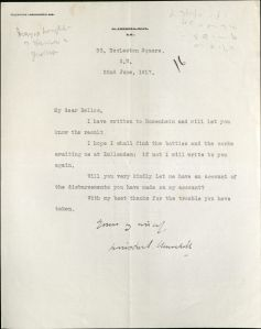 Letter from Winston Churchill to Hilaire Belloc, June 22, 1917, Hilaire Belloc Papers, MS2005-02, John J. Burns Library, Boston College.