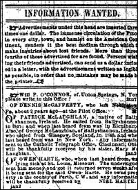 "An ""Information Wanted"" column from The Boston Pilot in 1858."