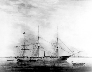 Sloop-of-war USS Hartford. Painting by E. Arnold.