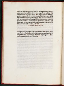 The end, or colophon of the book, was where early printers left the information we now associate with the title page: place of publication, name(s) of those associated with the book's publication, and a date. But all we find here is that the book was published in Nuremberg in 1470; it is left to bibliographies to tell us who the printers were.