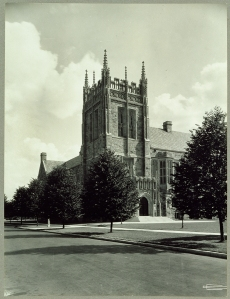Bapst Library, the fourth building constructed on Boston College's Chestnut Hill campus, photograph by Clifton Church.