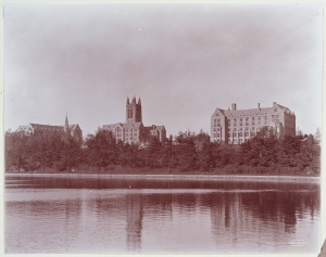 Devlin Hall, Gasson Hall, and St. Mary's Hall from the Lawrence Basin, photograph by Clifton Church.